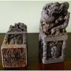 Coppia di sigilli in pietra dura Cinesi